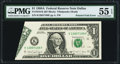 Error Notes:Foldovers, Printed Foldover Error Fr. 1916-K $1 1988A Federal Reserve Note. PMG About Uncirculated 55 EPQ.. ...
