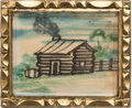 Political:Tokens & Medals, William Henry Harrison: Mint Hand-Painted Log Cabin Brooch.. ...