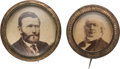Political:Ferrotypes / Photo Badges (pre-1896), Ulysses S. Grant and Horace Greeley: Cardboard Photo Badges Under Glass.... (Total: 2 Items)