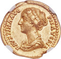 Ancients:Roman Imperial, Ancients: Faustina Junior (AD 147-175/6). AV aureus (19mm, 7.22 gm, 5h). NGC AU★ 5/5 - 5/5, Fine Style....