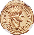 Ancients:Roman Imperial, Ancients: Tiberius (AD 14-37). AV aureus (19mm, 7.78 gm, 7h). NGCChoice AU★ 5/5 - 4/5....