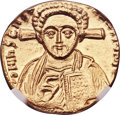 Ancients:Byzantine, Ancients: Justinian II Rhinotmetus, second reign (AD 705-711). AVsolidus (18mm, 4.40 gm, 5h). NGC MS 4/5 - 4/5.