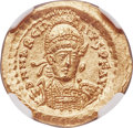 Ancients:Roman Imperial, Ancients: Marcian, Eastern Roman Empire (AD 450-457). AV solidus(21mm, 4.49 gm, 5h). NGC Gem MS 5/5 - 5/5, die shift....