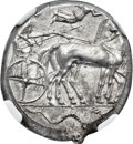 Ancients: SICILY. Syracuse. Second Democracy (ca. 466-405 BC). AR tetradrachm (23mm, 17.35 gm, 12h). NGC MS 4/5 - 5/5...