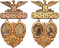 Political:Ferrotypes / Photo Badges (pre-1896), Harrison & Reid and Cleveland & Stevenson: Superb Condition Fancy Cardboard Jugate Pair.. ... (Total: 2 Items)