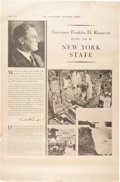 Political:Posters & Broadsides (1896-present), Franklin D. Roosevelt: Unusual Large New York Poster Featuring FDRas Governor.. ...