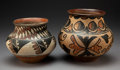 American Indian Art:Pottery, Two San Ildefonso Polychrome Jars . c. 1890 and 1910... (Total: 2 Items)
