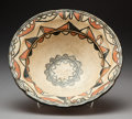 American Indian Art:Pottery, A Tesuque Polychrome Bowl. c. 1890...