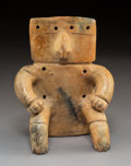 Pre-Columbian:Ceramics, A Quimbaya Slab Figure with Gold Nose Ring. c. 1200-1400 AD. ... (Total: 0 Items)