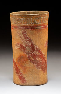 A Late Classic Maya Cylinder Vase c. 600-900 AD
