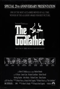 """The Godfather (Paramount, R-1998). Rolled, Very Fine. 25th Anniversary Mylar One Sheet (26.75"""" X 39.75""""). S. N..."""