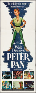 "Movie Posters:Animation, Peter Pan (Buena Vista, R-1958). Folded, Very Fine-. Insert (14"" X36""). Animation.. ..."