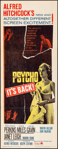 "Movie Posters:Hitchcock, Psycho (Paramount, R-1965). Folded, Very Fine+. Insert (14"" X 36"").Hitchcock.. ..."