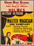 "Movie Posters:Miscellaneous, Holmes Master Magician and Company (1940s). Fine+ on Linen.Autographed Poster (21"" X 28""). Miscellaneous.. ..."