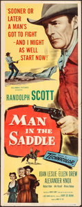 "Movie Posters:Western, Man in the Saddle & Other Lot (Columbia, 1951). Folded,Overall: Fine+. Inserts (3) (14"" X 36"") & One Sheet (27"" X41""). Wes... (Total: 4 Items)"