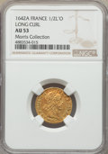 France, France: Louis XIII gold 1/2 Louis d'Or 1642-A AU53 NGC,...
