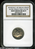 Errors: , Undated 10C Clad Roosevelt Dime--Broadstruck with Obverse StruckThru Capped Die--MS68 Full Torch NGC....