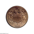 Proof Two Cent Pieces: , 1864 2C Small Motto PR65 Red PCGS....