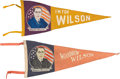 Political:Textile Display (1896-present), Woodrow Wilson: Two Colorful Political Felt Pennants.. ... (Total:2 Items)