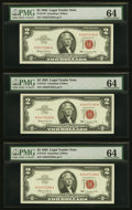Small Size:Legal Tender Notes, Fr. 1513 $2 1963 Legal Tender Notes. Three Consecutive Examples.PMG Choice Uncirculated 64.. ... (Total: 3 notes)