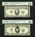 Error Notes:Ink Smears, Black Ink Smear on Face Errors Fr. 2070-H $20 1969C Federal Reserve Note. PMG Choice Uncirculated 63 EPQ.; Fr. 2071-D $20 1974... (Total: 2 notes)