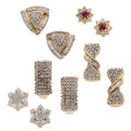 Estate Jewelry:Earrings, Diamond, Ruby, Gold Earrings. ... (Total: 5 Items)