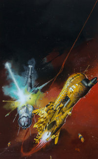 Peter Andrew Jones (American, b. 1951) The Centauri Device paperback cover, 1974 Acrylic on board 18-3/4 x 11-3/4 in