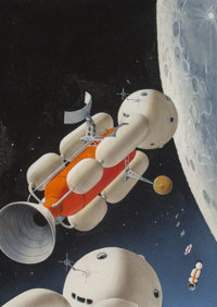 Alex Schomburg (American, 1905-1998) Unpublished Satellite Science Fiction cover study, circa 1958 Acrylic on board 7