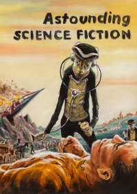 Edmund Emshwiller (American, 1925-1990) Astounding Science Fiction cover preliminary, August 1956 Acrylic on board 8