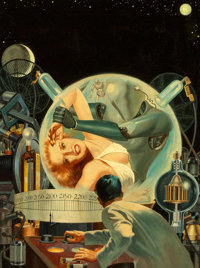 Lawrence Sterne Stevens (American, 1884-1960) Hand from the Void, Super Science Stories cover, January 1951 Oil on boa...