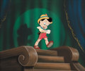 "Animation Art:Production Cel, Pinocchio ""No Strings"" Production Cel and Painted Background (Walt Disney, 1940)...."