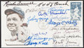 Autographs:Letters, 1983 Hall of Famers Multi-Signed Babe Ruth First Day Cover (17Signatures)....