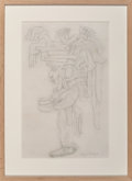 """Post-War & Contemporary:Contemporary, Diego Rivera (1886-1957). Study for """"Visions of the History ofMexico"""" mural, 1930. Pencil on paper. 25-1/2 x 16-1/4 inc..."""