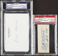 Autographs:Index Cards, O'Doul & Bancroft Signed Cut/Index Lot of 2, PSA/DNA Authentic....