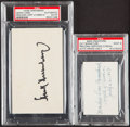 Autographs:Index Cards, Crawford & Greenberg Signed Cut/Index Lot of 2, PSA/DNA Authentic....