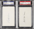 Autographs:Index Cards, Faber & Grove Signed Index Card Lot of 2, PSA/DNA Authentic....