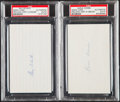 Autographs:Index Cards, Schalk & Combs Signed Index Card Lot of 2, PSA/DNA Authentic....