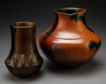 American Indian Art:Pottery, Two Navajo Brownware Jars . Alice Cling and Samuel Manymules . c. 1990... (Total: 2 Items)