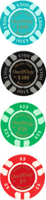 "Casino Royale (MGM, 2006). Near Mint. Screen-Used One & Only Ocean Club Poker Chips (4) (Diameter: 1.5"") $5..."