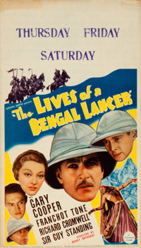 "The Lives of a Bengal Lancer (Paramount, 1935). Fine/Very Fine. Midget Window Card (8"" X 14"")"