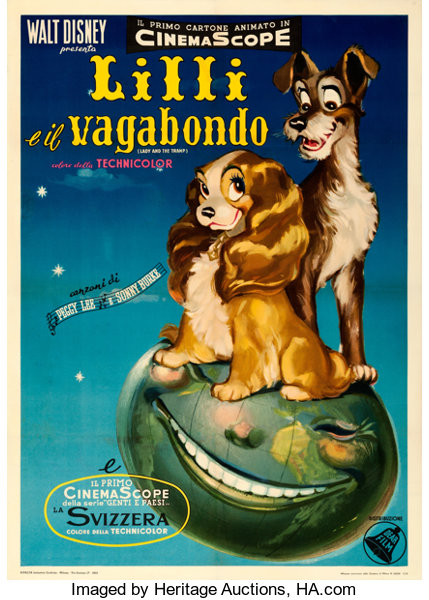 Lady And The Tramp Dear Film 1955 Fine On Linen Italian 2 Lot 86154 Heritage Auctions