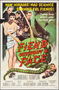 "Fiend without a Face (MGM, 1958). Folded, Fine/Very Fine. One Sheet (27"" X 41""). Science Fiction"