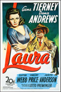 "Movie Posters:Film Noir, Laura (Action Gitanes, R-1990s). Rolled, Very Fine+. Belgian Poster(26.25"" X 40""). Film Noir.. ..."