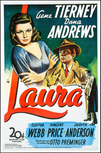 "Laura (Action Gitanes, R-1990s). Rolled, Very Fine+. Belgian Poster (26.25"" X 40""). Film Noir"