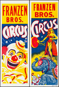 """Franzen Brothers Circus (1970s). Folded, Very Fine. Circus Posters (4) (14"""" X 42""""). Miscellaneous. ... (Total:..."""