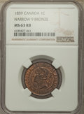 """Canada, Canada: Victoria """"Narrow 9"""" Cent 1859 MS63 Red and Brown NGC,..."""