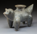 Pre-Columbian:Ceramics, A Colima Blackware Dog Vessel with Large Spout in Back...