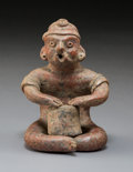 Pre-Columbian:Ceramics, A Colima Hunchback Playing a Drum and Singing