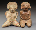 Pre-Columbian:Ceramics, Two Nayarit Chinesco Seated Figures