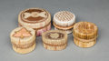 American Indian Art:Baskets, Five Great Lakes Quilled Birchbark Lidded Containers... (Total: 5 Items)